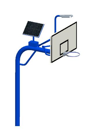 XLL016T直埋太阳能篮球架